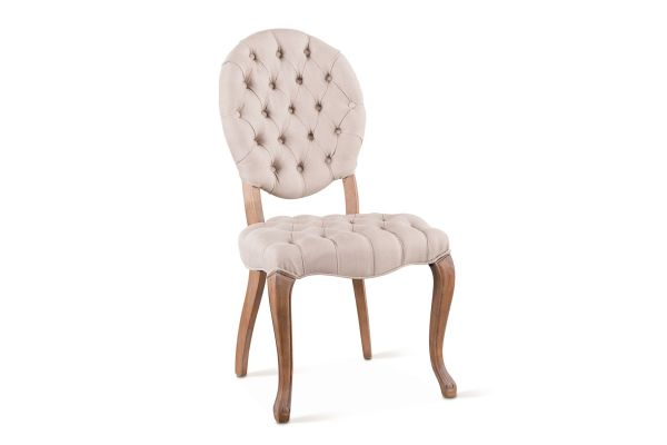 Large image of Home Trends & Design Penelope Off-White Linen Back Dining Chair - G201-433-810-90