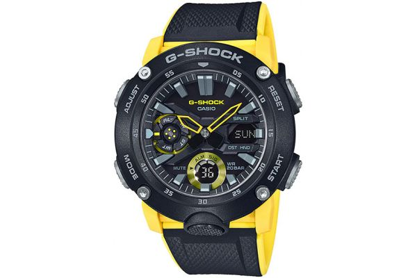 Large image of G-Shock Carbon Core Guard Black & Yellow Watch - GA-2000-1A9CR
