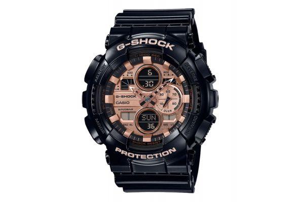 Large image of G-Shock Analog-Digital Resin Black Matte And Rose Gold Mens Watch - GA140GB-1A2