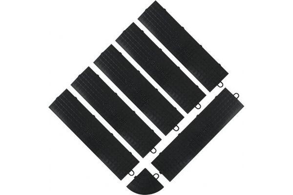 Large image of Gladiator Garageworks Black Male Edge Trim (6-Pack + 1 Corner) - GAFA06MEPB