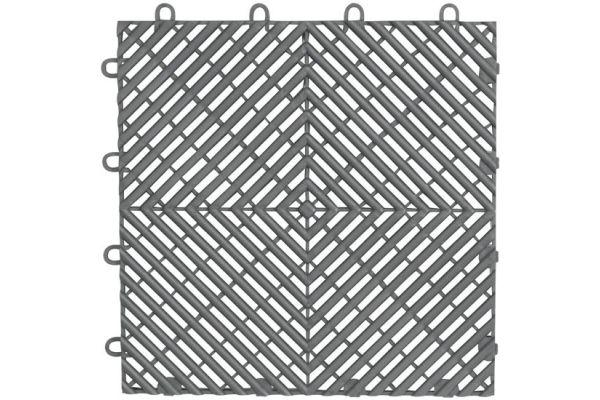"Large image of Gladiator Garageworks 12"" x 12"" Silver Drain Tiles (4-Pack) - GAFT04DTPS"