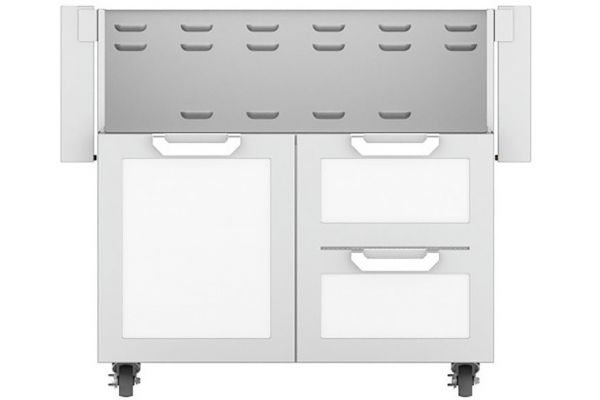 """Large image of Hestan 36"""" Froth White Double Drawer & Door Grill Cart - GCR36-WH"""