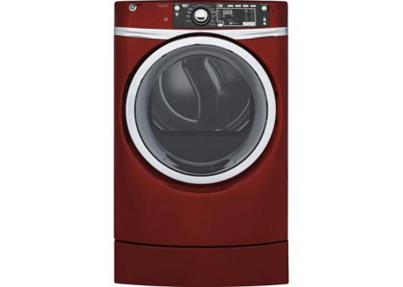 GE Red 8.3 Cu. Ft. RightHeight Electric Steam Dryer - GFD49ERPKRR