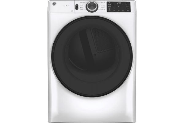 Large image of GE 7.8 Cu. Ft. White Smart Front-Load Electric Dryer With Sanitize Cycle - GFD55ESSNWW
