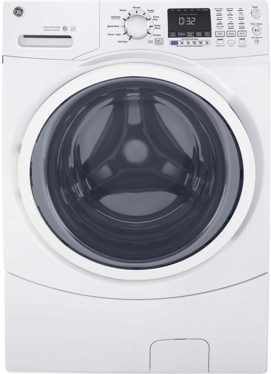 Ge White Front Load Steam Washer Gfw450sskww