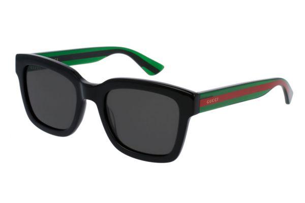 Large image of Gucci Black Rectangular Frame Mens Sunglasses - GG0001S006