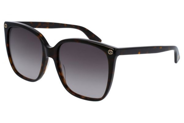 Large image of Gucci Rectangular Havana Womens Sunglasses, 57mm - GG0022S-003 57