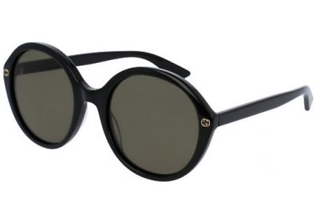 Gucci Black Round Acetate Womens Sunglasses - GG0023S-001 55