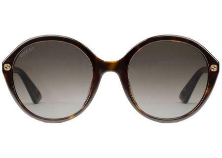 Gucci Tortoiseshell Round Acetate Womens Sunglasses - GG0023S-002 55