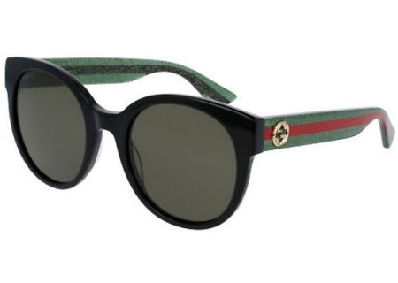 Gucci Black Acetate Round-Frame Womens Sunglasses - GG0035S-002 54