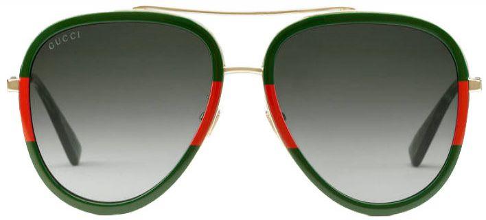 Gucci Red   Green Aviator Womens Sunglasses - GG0062S-003 57 283e08bfcb