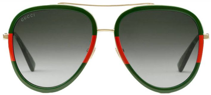 cf31f6b0a Gucci Red & Green Aviator Womens Sunglasses - GG0062S-003 57