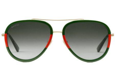 Gucci Red & Green Aviator Womens Sunglasses - GG0062S-003 57