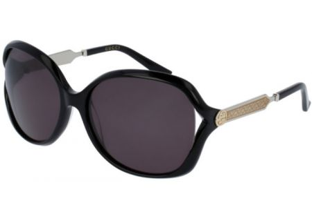 Gucci Oversized Round Black Acetate Womens Sunglasses - GG0076S-001 60