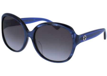 Gucci Oversized Oval Pearl Blue Acetate Womens Sunglasses - GG0080SK-005 61