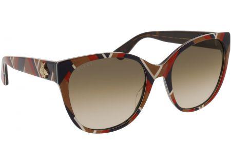 Gucci Cat Eye Mustard Blue Chevron Acetate Womens Sunglasses - GG0097S-004 56