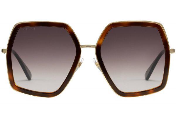 Gucci Oversized Square Tortoiseshell Womens Sunglasses - GG0106S002