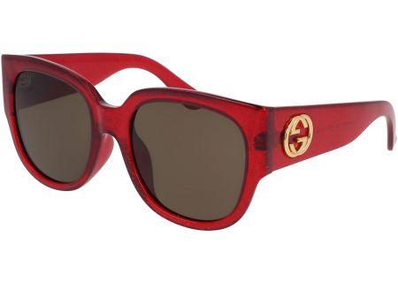 Gucci Shiny Red Glitter Womens Sunglasses - GG0142SA-003 55