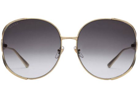 Gucci Gold Round Frame Metal Womens Sunglasses - GG0225S-002 63