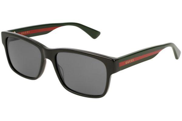 Large image of Gucci Black Rectangular Frame Mens Sunglasses - GG0340S00658
