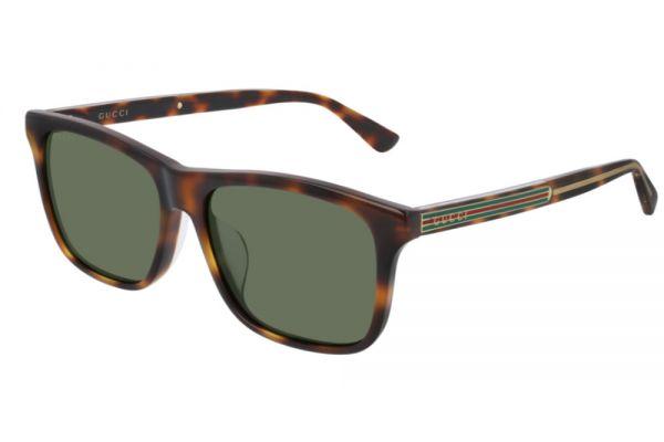 Large image of Gucci Havana Rectangular Frame Mens Sunglasses - GG0381SA003
