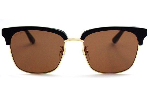 Gucci Rectangular Frame Black Mens Sunglasses - GG0382S-002