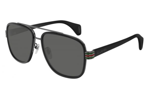 Large image of Gucci Black Rectangular Frame Mens Sunglasses - GG0448S00158
