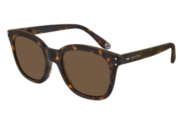 Large image of Gucci Havana Soft Squared Frame Mens Sunglasses - GG0571S-002