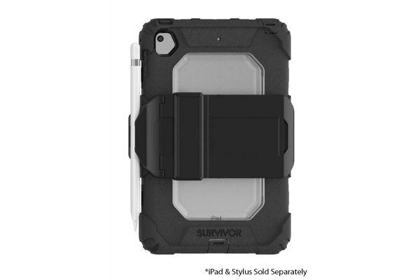Large image of Griffin Survivor All-Terrain Black/Clear iPad Mini 5 & iPad Mini 4 Case w/ Kickstand - GIPD-005-BLK