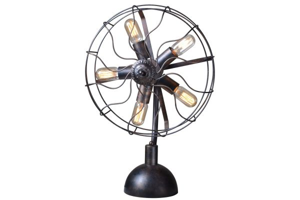 Large image of Home Trends & Design Luminaire Antique Fan Head Table Lamp - GLM-TL9AV