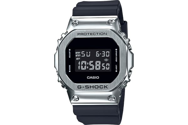 Large image of G-Shock Digital Resin Silver With Black Bezel Band Mens Watch - GM5600-1