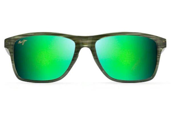 Large image of Maui Jim Onshore Green Polarized Rectangular Sunglasses - GM798-15C