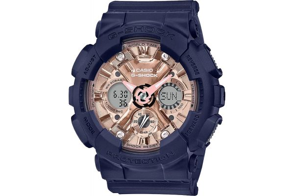 Large image of G-Shock Blue & Rose Gold Womens Watch - GMAS120MF-2A2