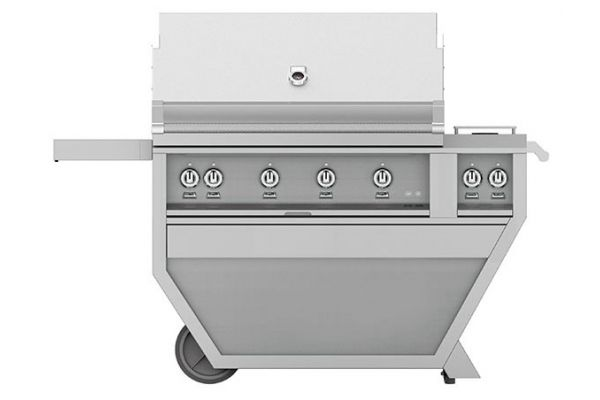 """Large image of Hestan 42"""" Stainless Steel Deluxe Trellis And Sear With Double Side Burner Natural Gas Grill - GMBR42CX2-NG"""