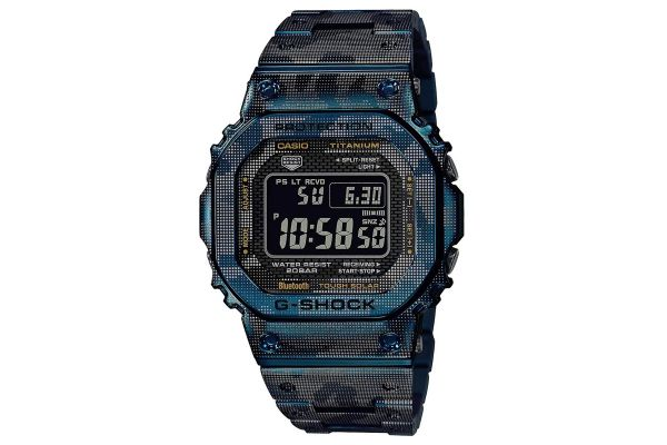Large image of G-Shock Titanium Blue Camo Print Mens Watch - GMWB5000TCF-2