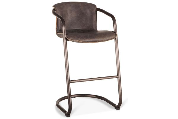 Large image of Home Trends & Design Portofino Antique Ebony Leather Bar Chair - GPF-BC22AE