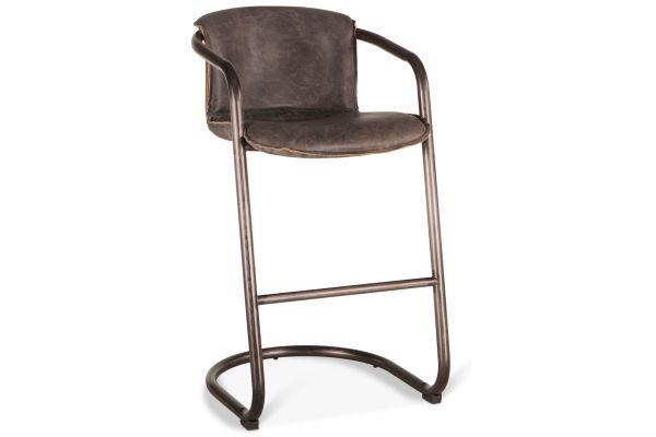 Large image of Home Trends & Design Portofino Antique Ebony Leather Bar Chair - GPF-BC22AE