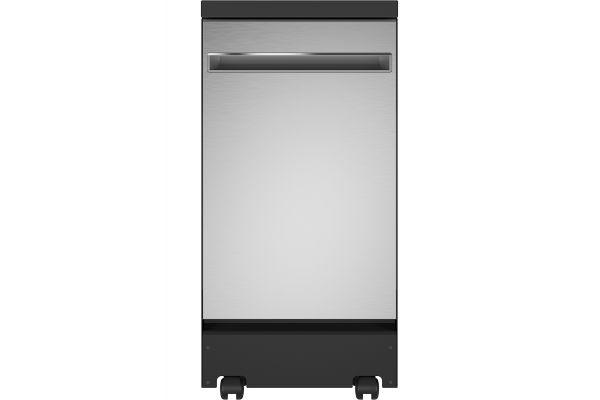 "Large image of GE 18"" Stainless Steel Portable Dishwasher - GPT145SSLSS"