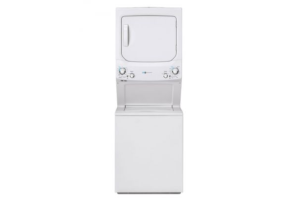 """Large image of GE Unitized Spacemaker 27"""" White Stack Washer With Gas Dryer - GUD27GESNWW"""