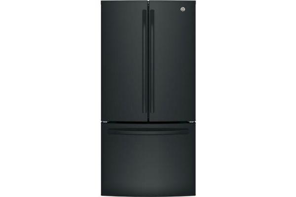Large image of GE ENERGY STAR 18.6 Cu. Ft. Black Counter-Depth French-Door Refrigerator - GWE19JGLBB