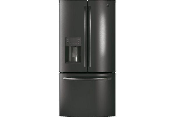 Large image of GE 17.5 Cu. Ft. Black Stainless Steel French Door Refrigerator - GYE18JBLTS