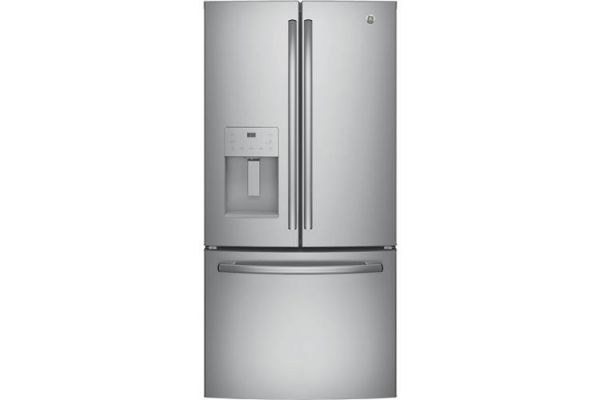 Large image of GE ENERGY STAR 17.5 Cu. Ft. Stainless Steel Counter-Depth French-Door Refrigerator - GYE18JSLSS