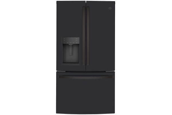 Large image of GE ENERGY STAR 22.1 Cu. Ft. Black Slate Counter-Depth French-Door Refrigerator - GYE22GENDS