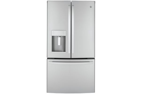 GE ENERGY STAR 22.2 Cu. Ft. Stainless Steel Counter-Depth French-Door Refrigerator - GYE22GYNFS