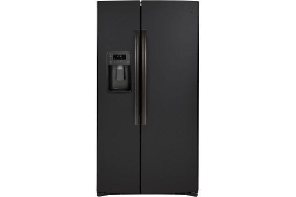 Large image of GE 21.8 Cu. Ft. Black Slate Counter-Depth Side-By-Side Refrigerator - GZS22IENDS