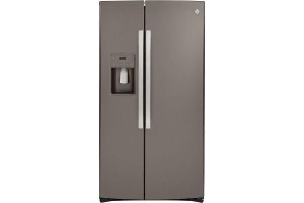 Large image of GE 21.8 Cu. Ft. Slate Counter-Depth Side-By-Side Refrigerator - GZS22IMNES