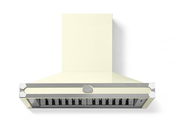 """Large image of La Cornue 36"""" CornuFe 90 Suzanne Kasler Blanc With Stainless Steel And Polished Chrome Trim Wall Hood - H9CP"""