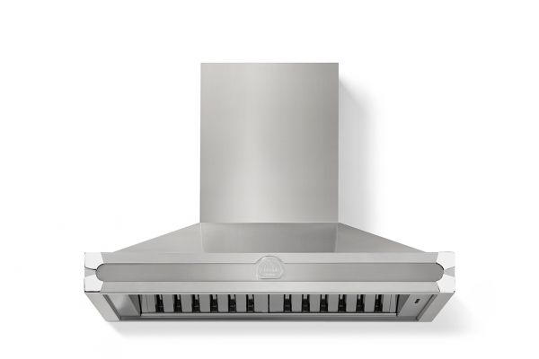 """Large image of La Cornue 36"""" CornuFe 90 Stainless Steel With Stainless Steel And Polished Chrome Trim Wall Hood - H9IP"""