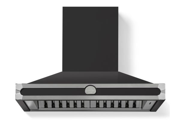"Large image of La Cornue 36"" CornuFe 90 Matte Black With Satin Chrome Wall Hood - H9NN"