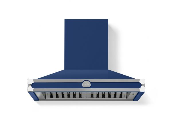 """Large image of La Cornue 36"""" CornuFe 90 Royal Blue With Stainless Steel and Polished Chrome Trim Wall Hood - H9RP"""